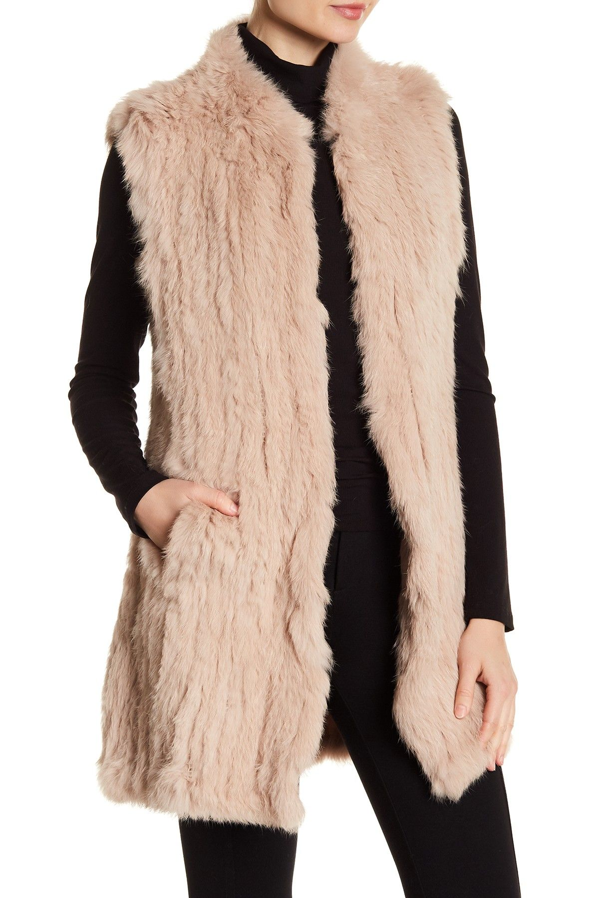 443d8696b Long Genuine Dyed Rabbit Fur Vest by Love Token on @nordstrom_rack