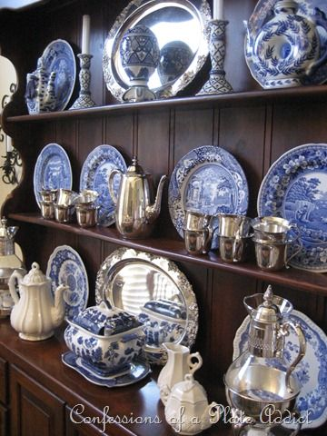 Hutch with blue and white china believe it is my Spode Blue Italian (thx Margaret McKenna for lifelong fascination!) & More Blue and White...Inspired by Charles Faudree! | China White ...