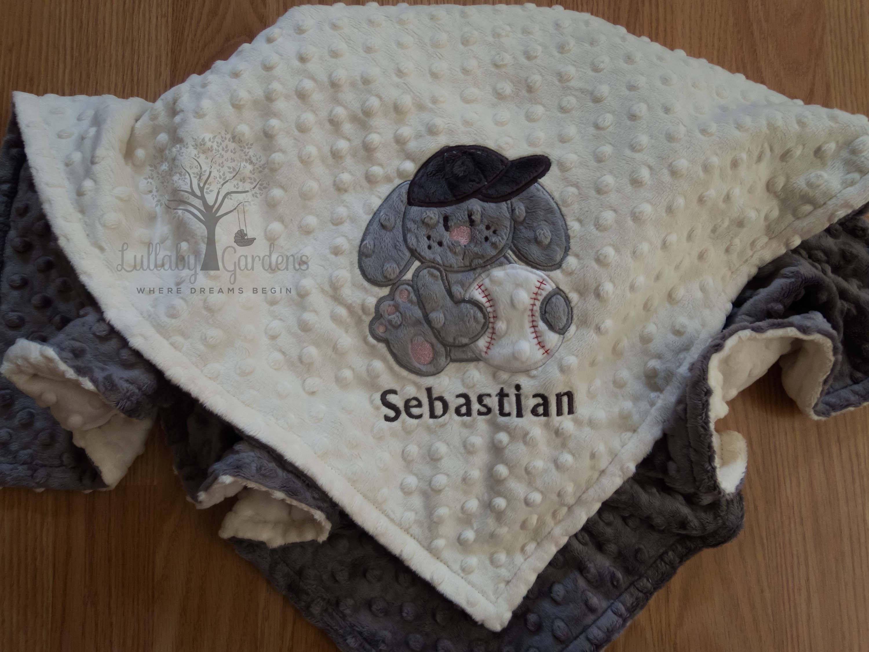 Personalized minky baby blanket baseball personalized minky baby personalized minky baby blanket baseball personalized minky baby blanket personalized baby gift bunny negle Images