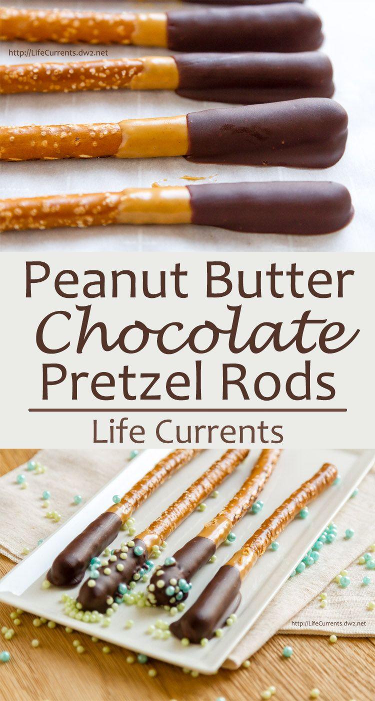 Chocolate Peanut Butter Pretzel Rods -- a fun dessert snack that ...