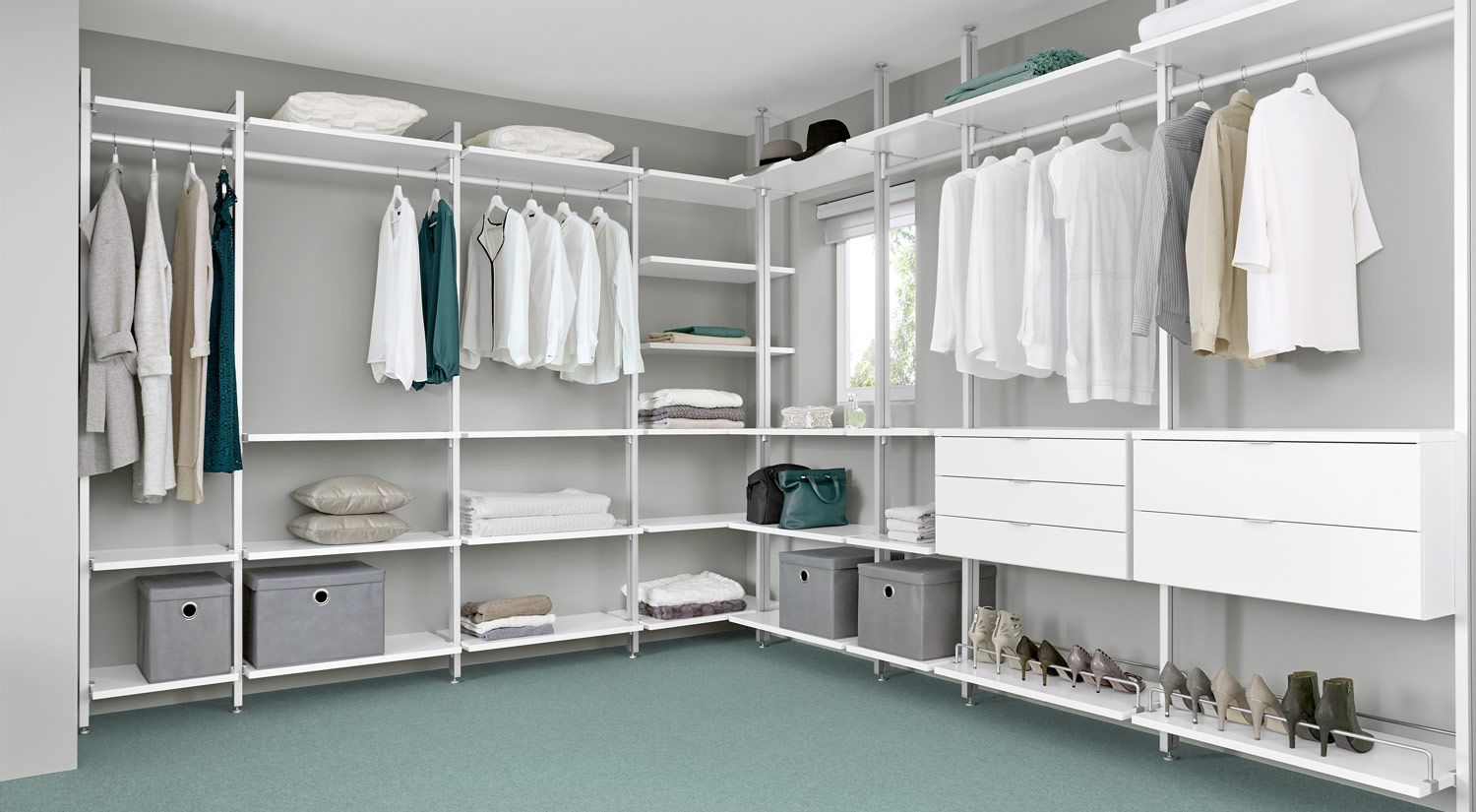 Begehbarer Kleiderschrank (Ecklösung) closet storage shelves and ...
