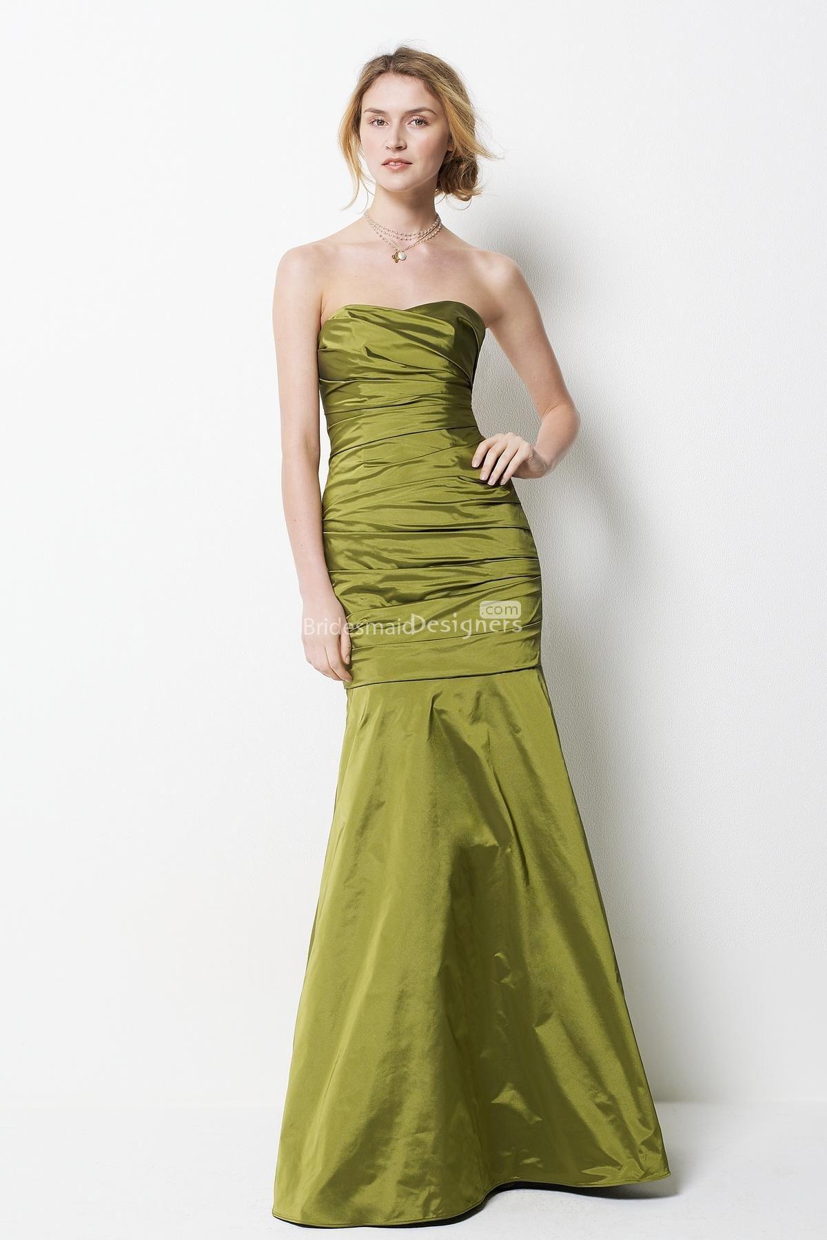 Strapless aline taffeta floor length pleated bridesmaid dress