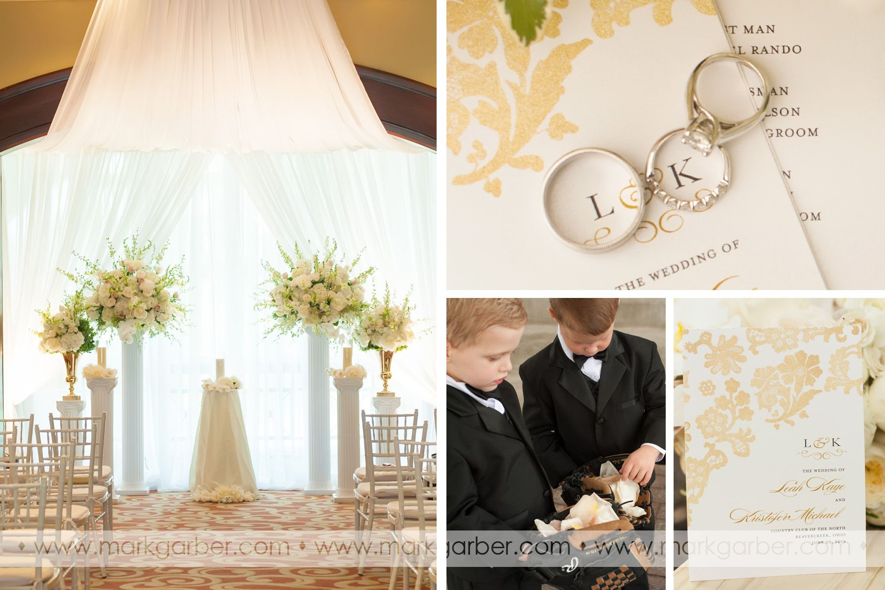 Gold and ivory wedding at country club of the north image by mark