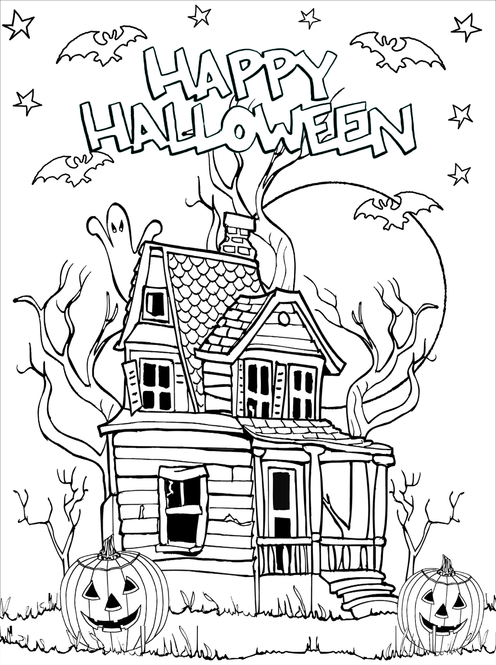 Haunted House To Print And Color With Pumpkins Jack O Lantern Dead Trees Bats Halloween Coloring Free Halloween Coloring Pages Halloween Coloring Pictures [ 1339 x 1000 Pixel ]