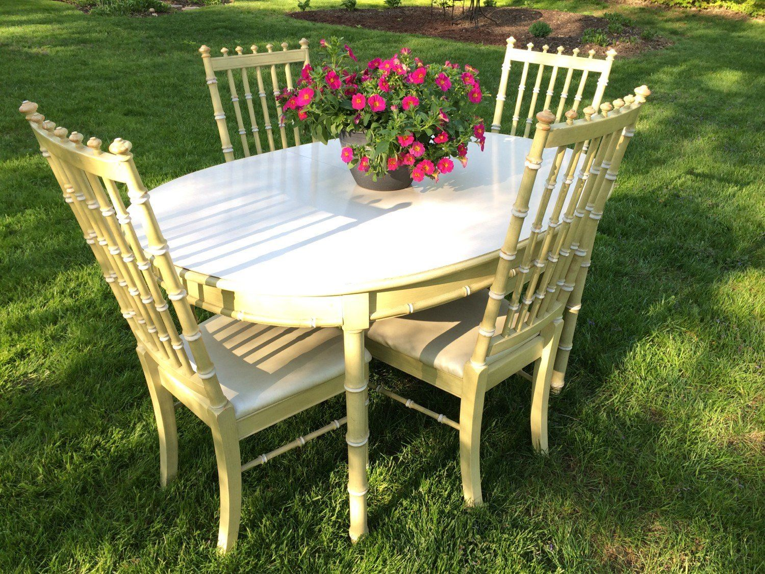 Vintage Thomasville Faux Bamboo 5 Piece Dining Set Four Chairs And With  Regard To Bamboo Chairs