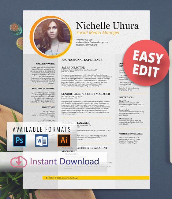 FREE EDIT - Resume Template - Professional resume design, creative - edit resume