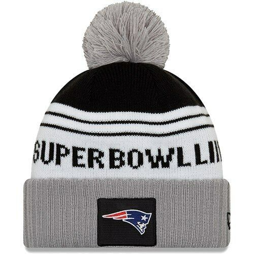 New-England-Patriots-New-Era-Super-Bowl-LIII-Bound-Striped-Knit-Hat -White-Gray e9eba072e90f