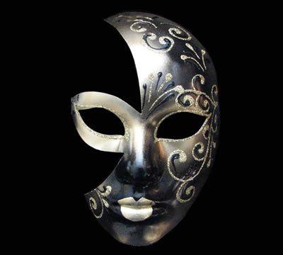 109 Volto Luna Berta black/gold Venetian masquerade mask ...
