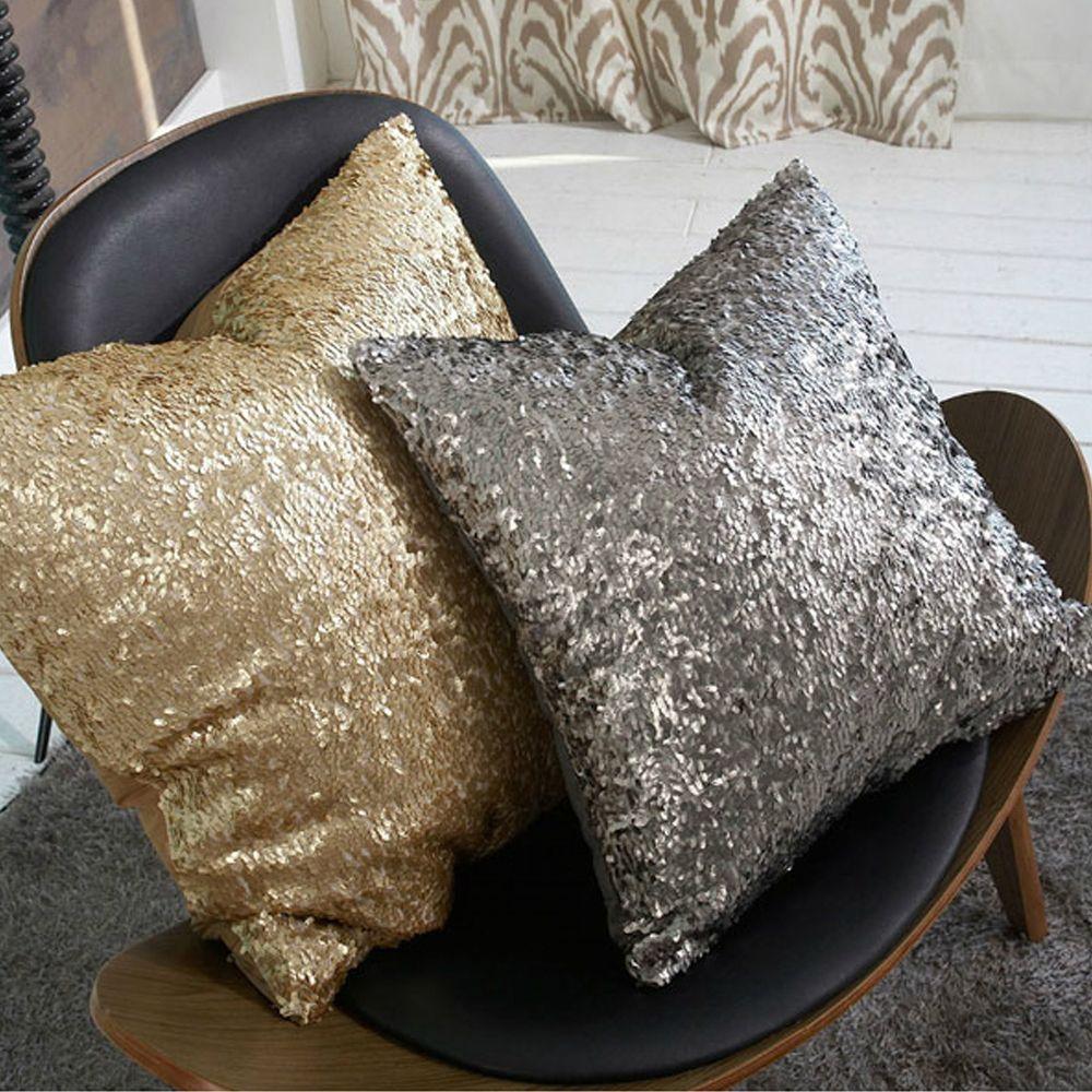 Nice ZT1057 Morden Gold Silver Sequin Shining Bling Color Decorative Sofa Throw  Pillow Cases Cushion Cover Bed