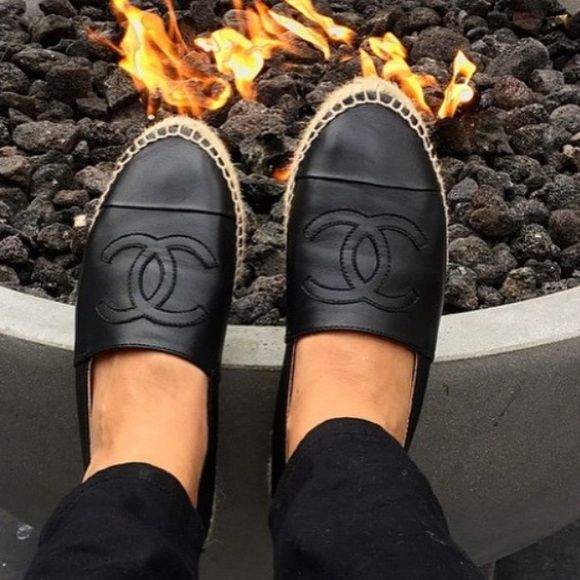 9727c96a7c6 Authentic Chanel black lambskin Espadrilles Preowned have been worn Classic  in good condition RARE SINGLE SOLE CHANEL ESPADRILLES. No stains tears.