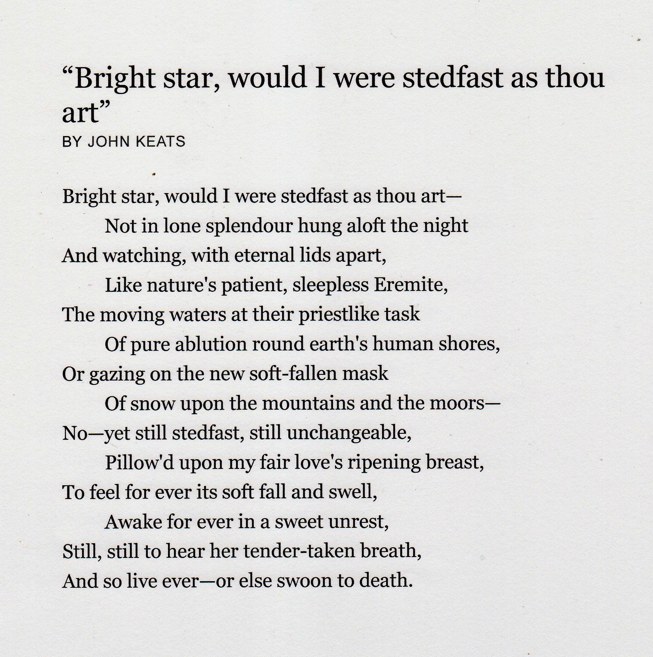Bright Star John Keat 1795 1821 Sleepless Sparknotes