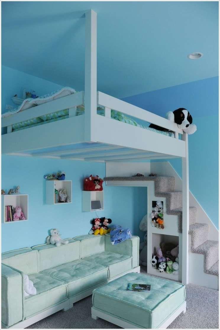 Under loft bed storage ideas  A Hanging Bed with Sitting Space Underneath  Storage Ideas  Space