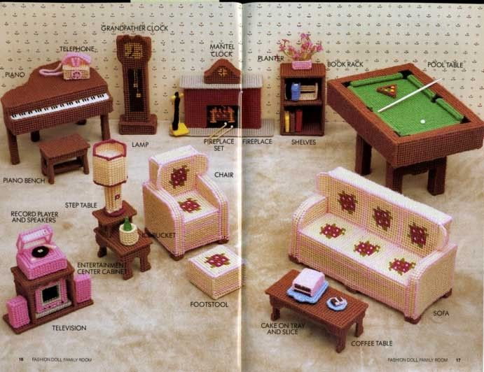 Stone Hill Creek Barbie Doll Family Room Plastic Canvas Patterns Furniture Pool Table