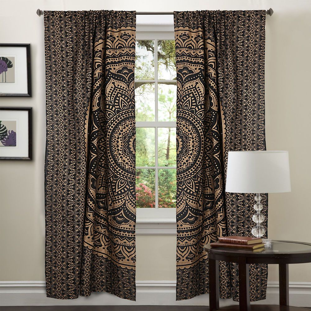 Indian Golden Ombre Mandala Cotton Door Drape Panel 2 PC Curtains Window Decor