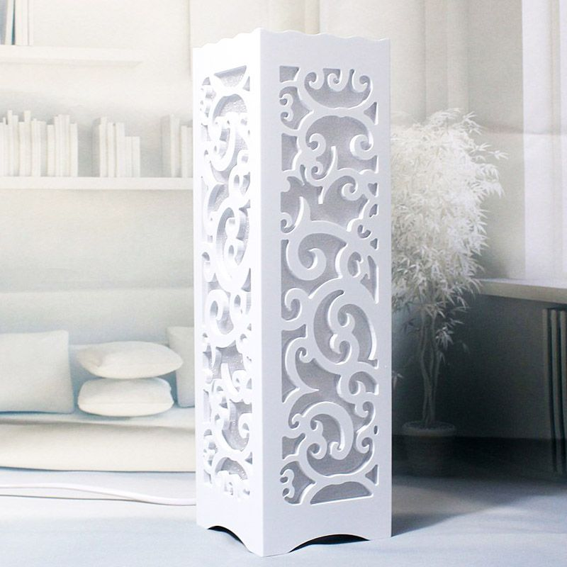(Buy here: http://appdeal.ru/1wrj ) Minimalist Ivory White Wood Plastic Plate LED Table Lamp, Abstract Design Through-Cared Bedroom Bedside Table Decoration Abajur for just US $38.50