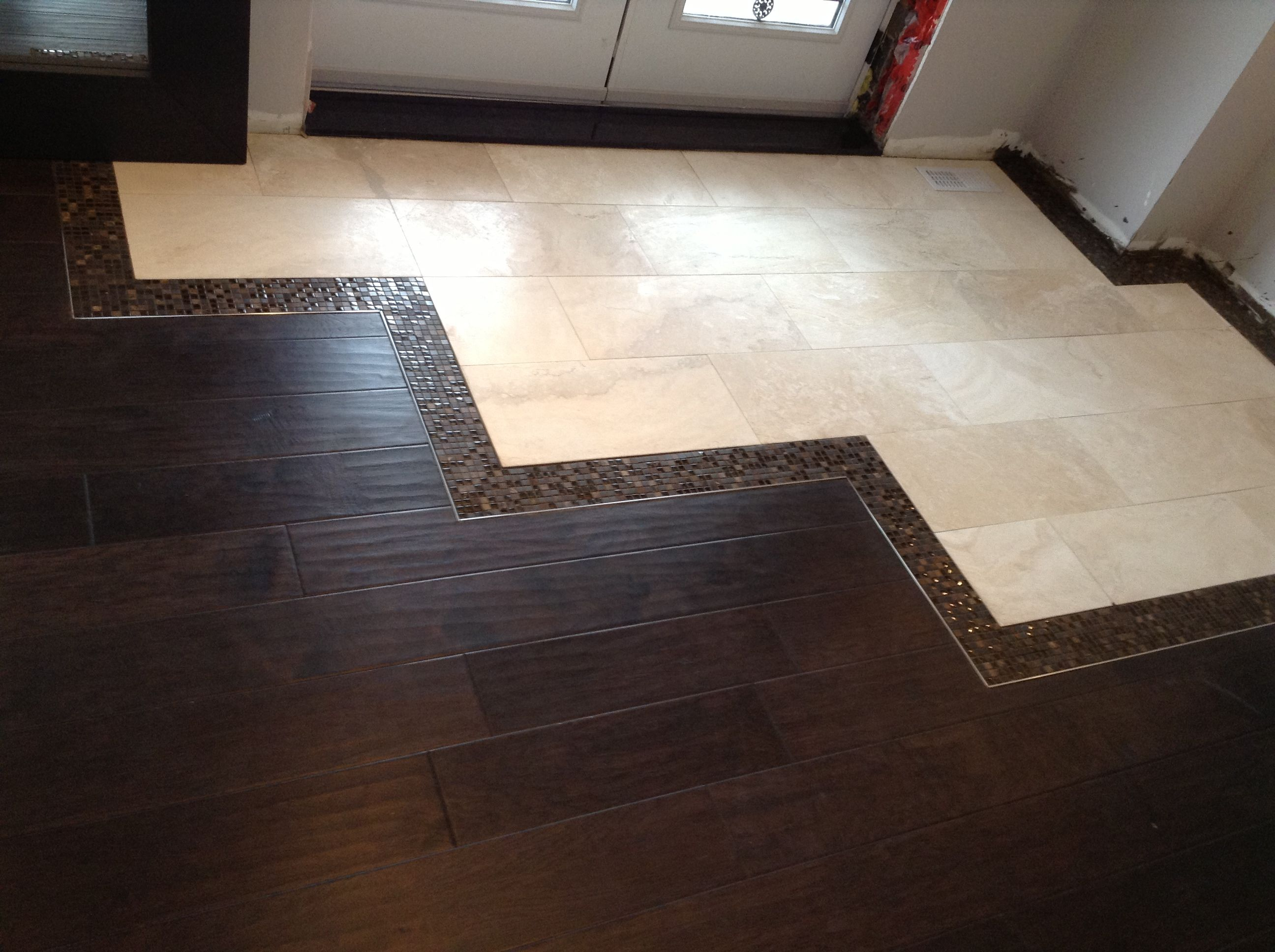 Front Foyer Wood Floor Cut Into Tile House Pinterest