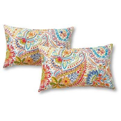 Set Of 2 Jamboree Paisley Outdoor Rectangle Throw Pillows Kensington Garden In 2020 Outdoor Accent Pillow Accent Pillow Sets Oblong Throw Pillow
