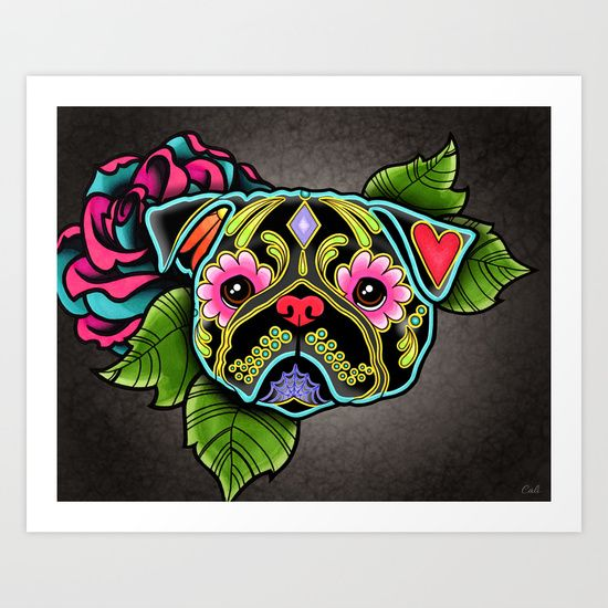 Day of the Dead Pug in Black Sugar Skull Dog Art Print, by Pretty In Ink.