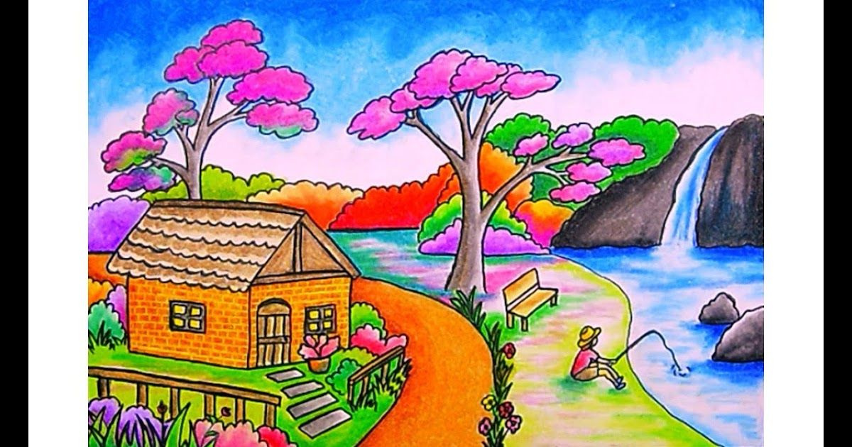 32 Pemandangan Alam Dan Air Terjun Sketsa Gambar Pemandangan Alam Desa Pantai Gunung Dan Air Terjun Ok Guy Gambar Pedesaan Cara Menggambar Ilustrasi Lukisan