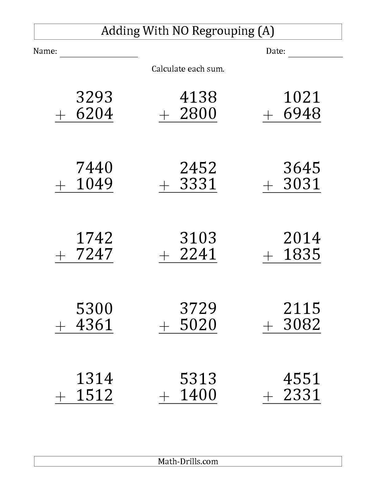 4 Digit Addition Without Regrouping Worksheets Math Worksheets Fractions Worksheets Worksheets