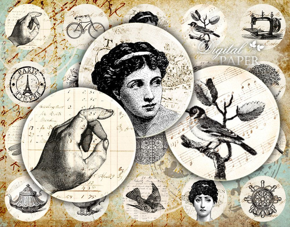 Old French - circles image - digital collage sheet - 1 x 1 inch