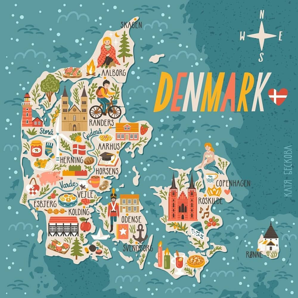 Denmark Map Map Art