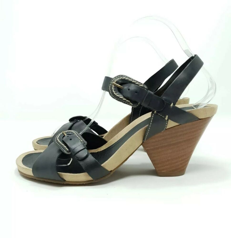 new arrival 5dd38 afb2f Clarks Black Leather Strappy Sandals Heels UK 6 EU 39 Wooden ...