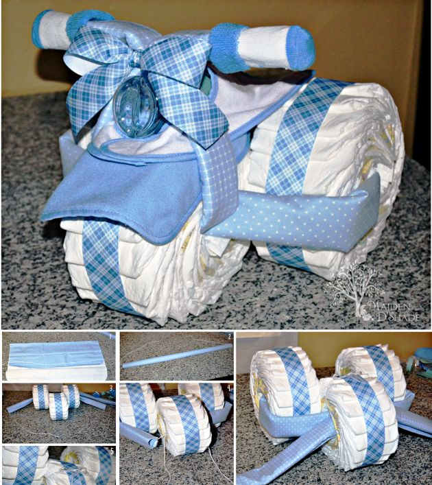 Wonderful diy creative tricycle diaper cake tricycle diaper here is another fun baby shower gift you can make all by yourself it is solutioingenieria Choice Image