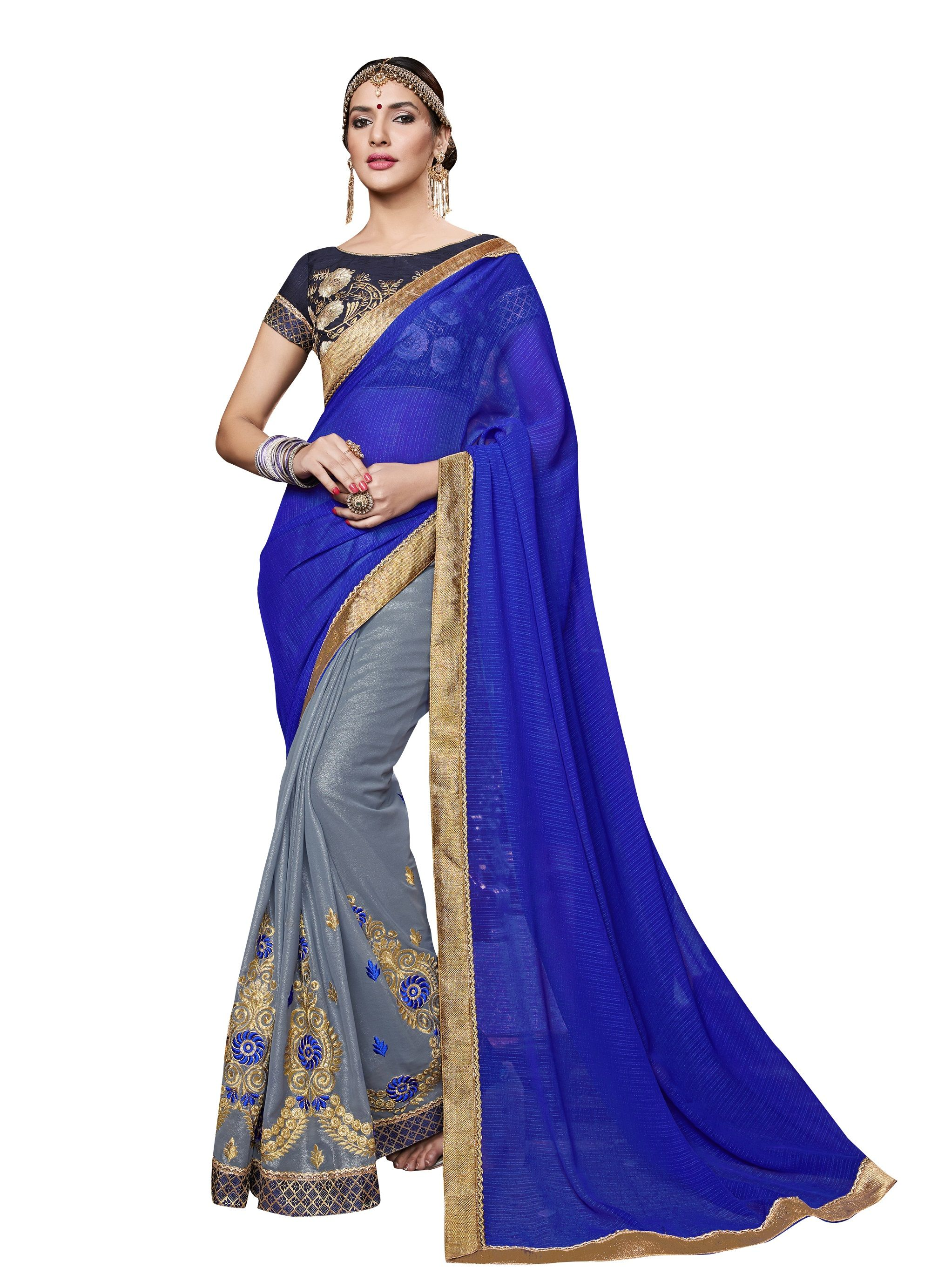 6ab48889a5ac8 Shop Blue And Grey Colored Georgette Saree. Online in Singapore ...