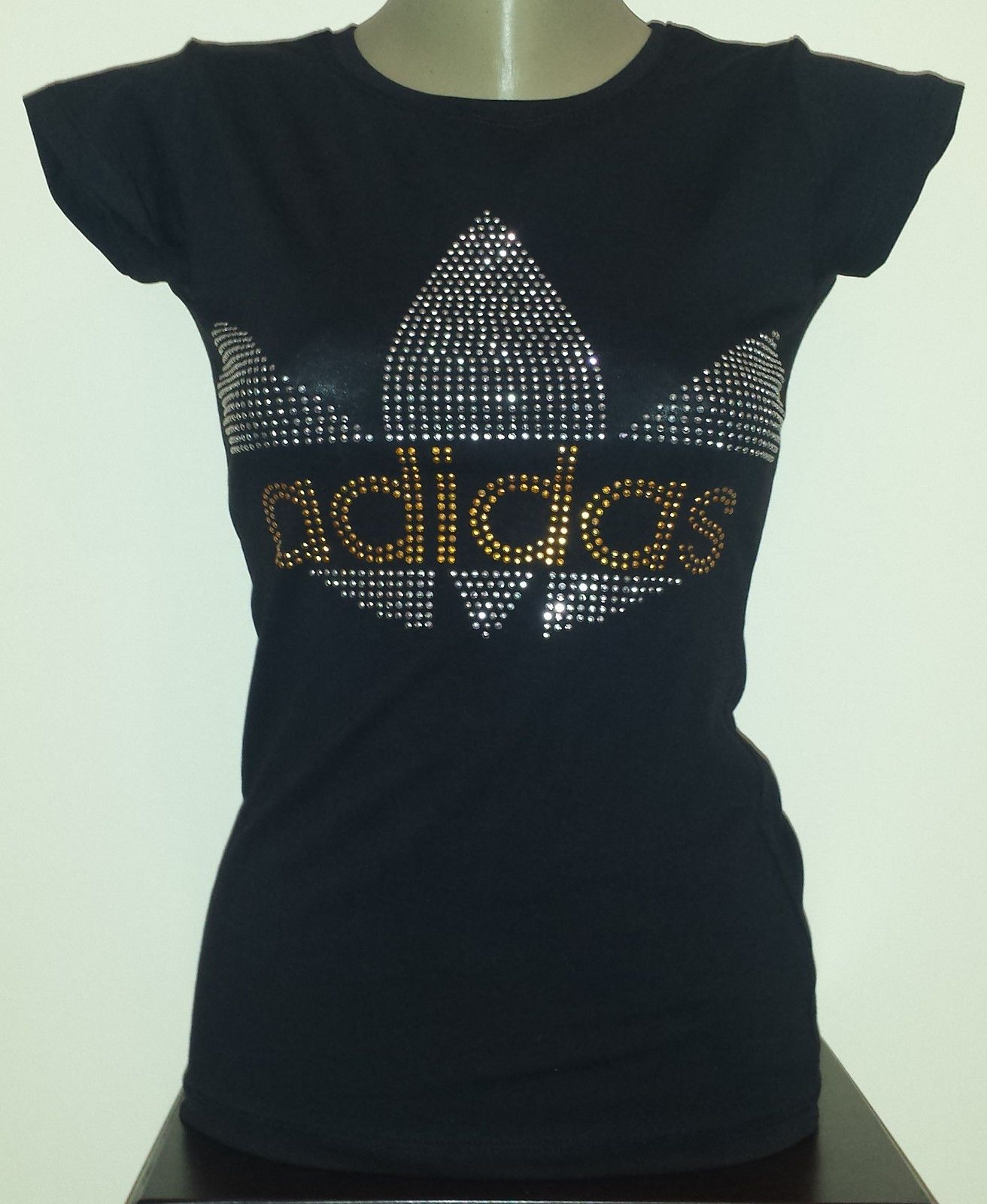 1f85886d Brand Women Black T-Shirts Adidas Shiny Beads Logo No Tag Free Shipping