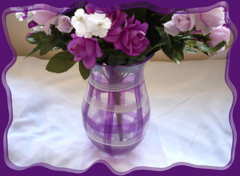 Vintage Teleflora Purple Plaid White Glass Vase Beautiful Teleflora