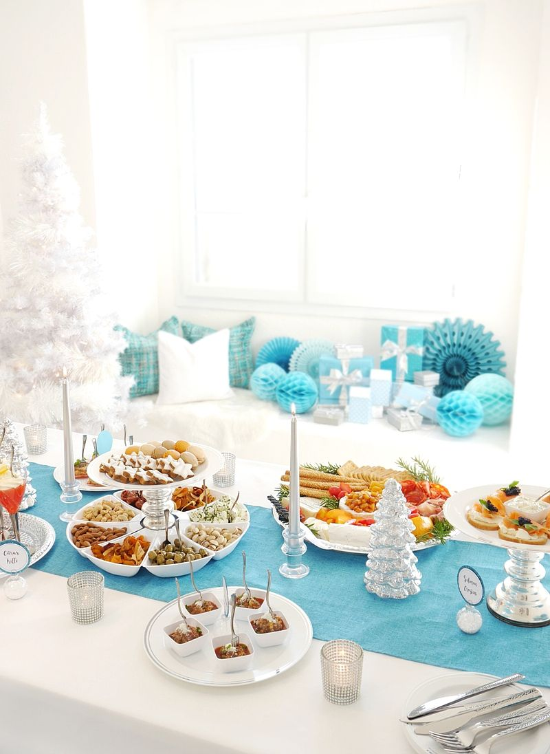 Holiday Cocktail Party Ideas Part - 48: Blue U0026 Silver Christmas Holiday Cocktail Party Ideas With Recipes, DIY  Creaive Table Decorations And