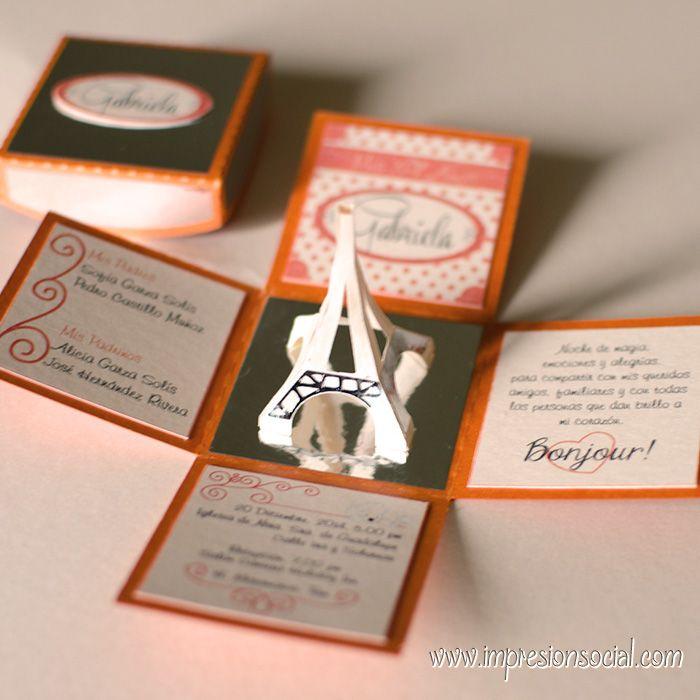 15 Paris Cajita Explosiva Torre Eiffel Invitaciones Y