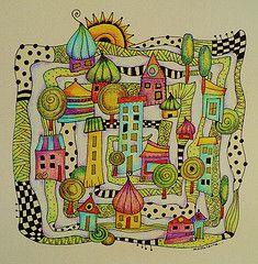 Zentangle village (MakeArtBeHappy) Tags: doodle coloredpencil zentangle