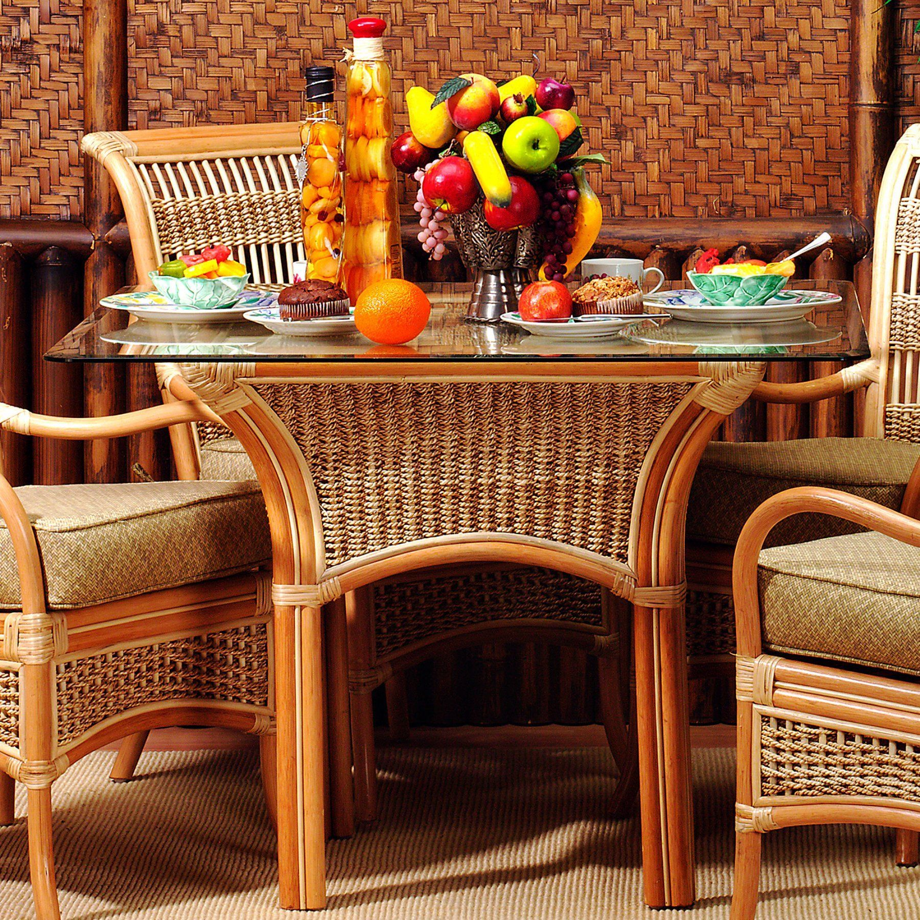 Outdoor E Island Wicker Dining Table With Gl Top Sidt Nat