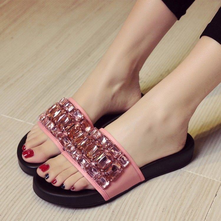 f39157373 Womens Fashion Rhinestones Peep Toe Flats Slippers Summer Beach Flip Flops  Chic
