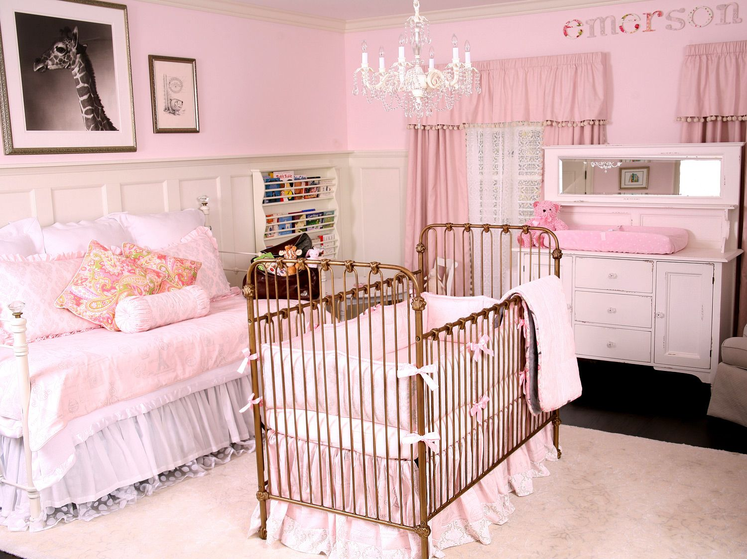 Greys Anatomys Shonda Rhimes Adopts See Her Babys Nursery - Light pink nursery decor