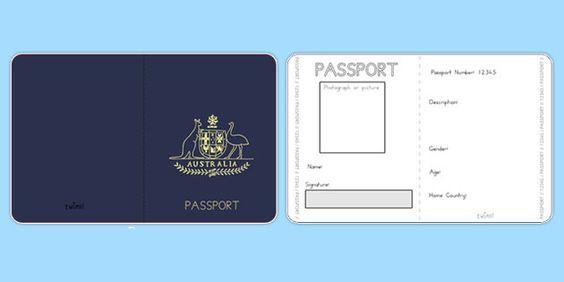 Australian Passport Template - Twinkl Teaching Kids about Sponsor