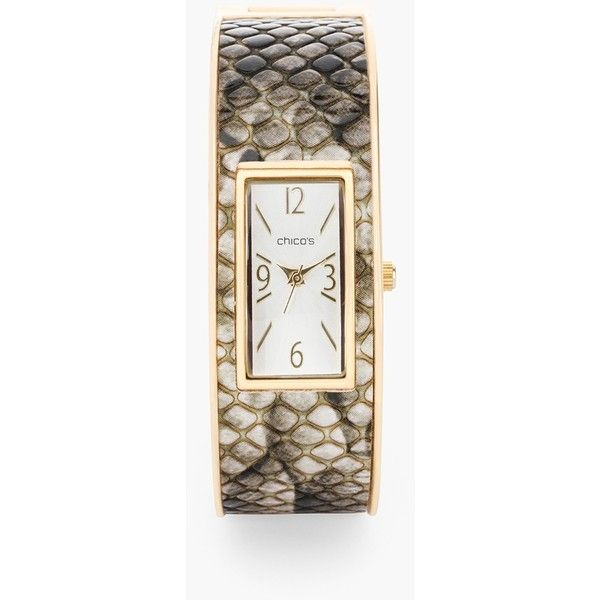 Chico's Malika Watch ($59) ❤ liked on Polyvore featuring jewelry, watches, fatigue combo, polish jewelry, cuff watches, cuff jewelry, chicos jewelry and chicos watches