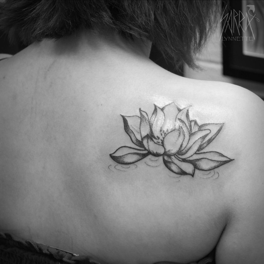 Black And White Lotus Flower Tattoo Design By Sarra Lynnette
