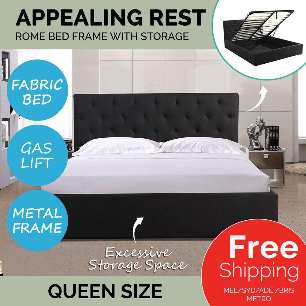 Queen Size Gas Lift Storage Bed Frame Headboard Fabric Mattress