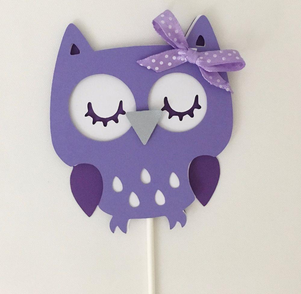 Owl Centerpieces Stick Owl Baby Shower Owl Theme Purple Owl