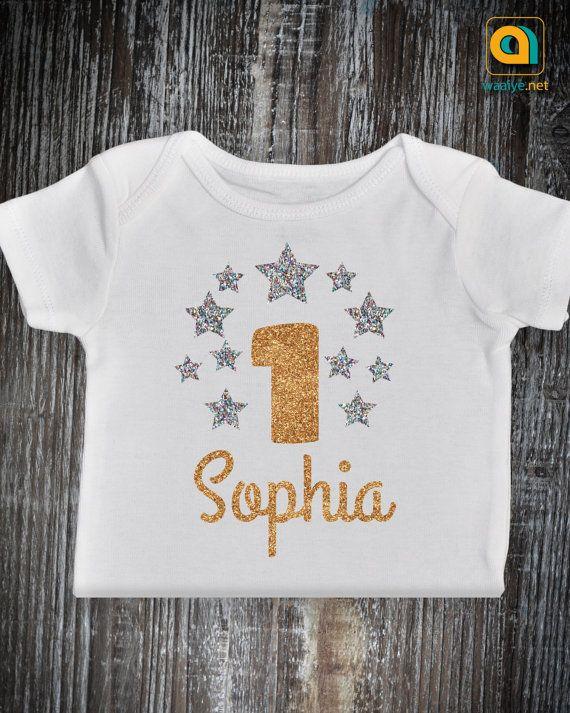 372697428 First Birthday Outfit, Twinkle Twinkle Little Star first Birthday Shirt, Baby  Girl Boy Gold Glitter Onesie. Baby Girl 1st Birthday Star