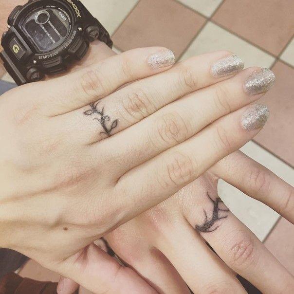 d5ca80f11 35 Sweet & Simple Wedding Band Tattoos | Tattoo | Wedding band ...