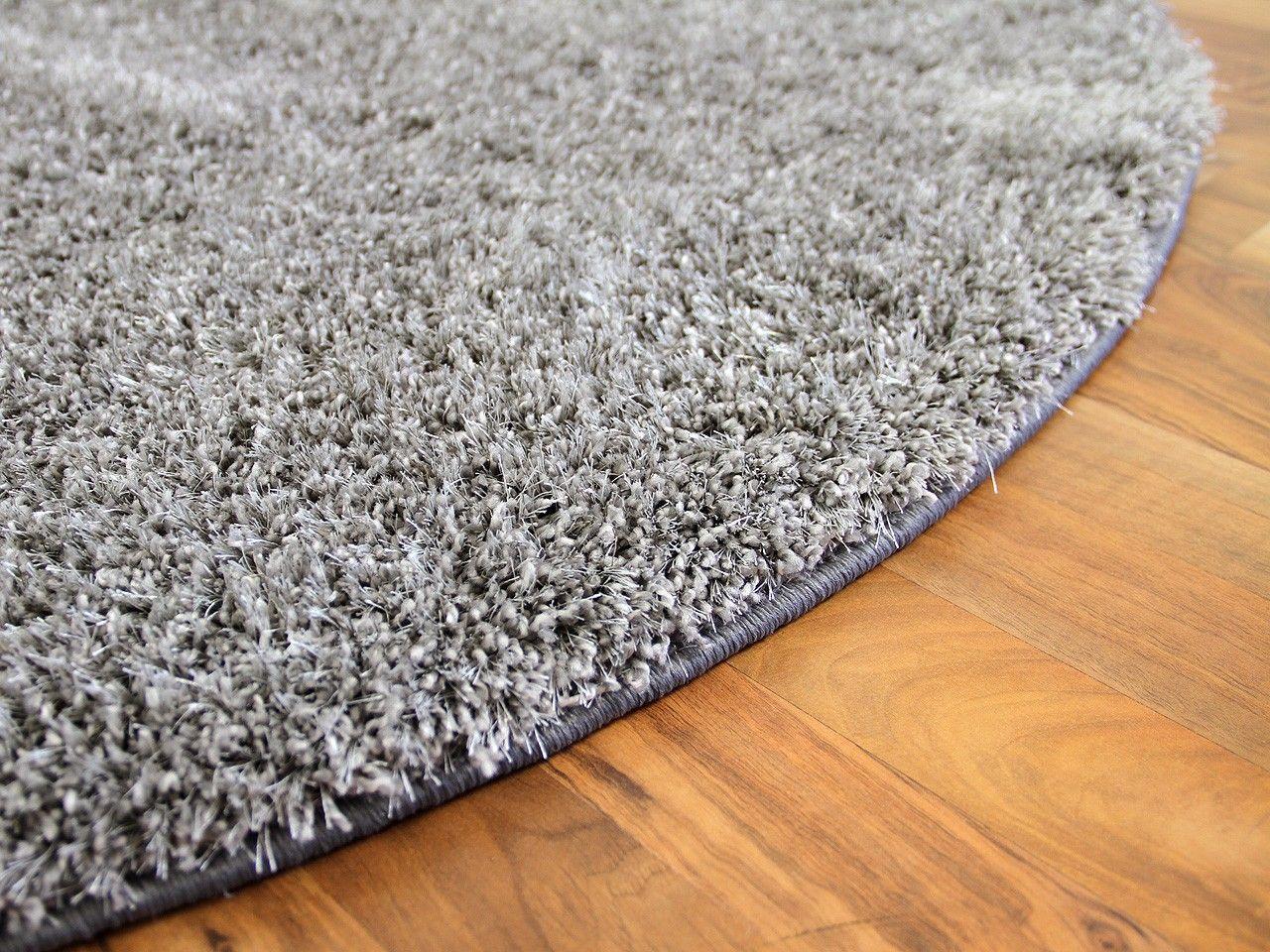 Hochflor Shaggy Teppich Luxus Feeling Mix Silber Rund In 7 Grossen Langflor Teppich Shaggy Teppich Und Schwarzer Teppich