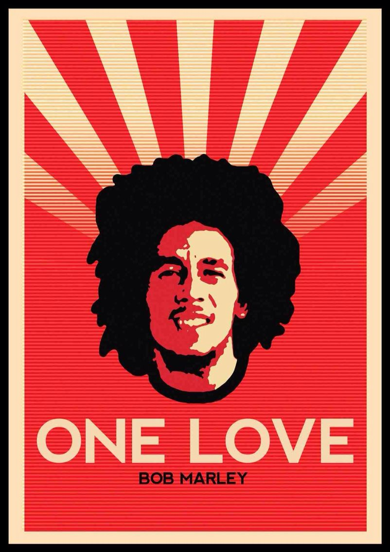 Bob Marley One Love Design Inspired By Shepard Fairey S Style Of Work Poster De Banda Posteres De Rock Artistas