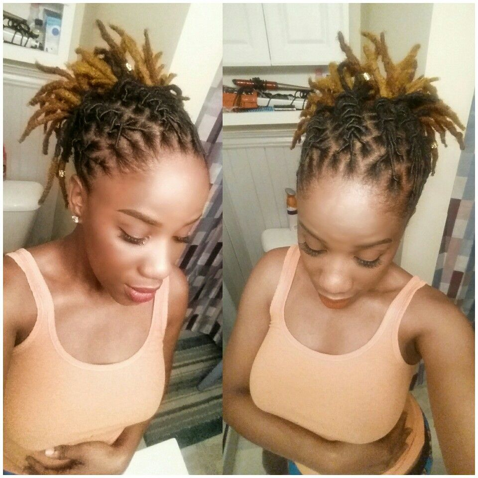 Loc Updo First Time Ever Coloring My Natural Hair Locs Hairstyles Short Locs Hairstyles Hair Styles