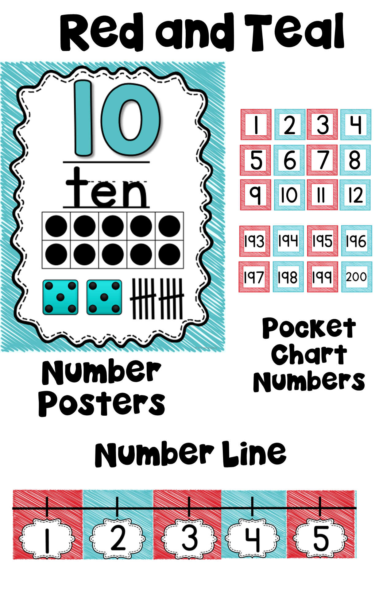 Teal and Red Number Posters with Number Line | Numeral numbers ...
