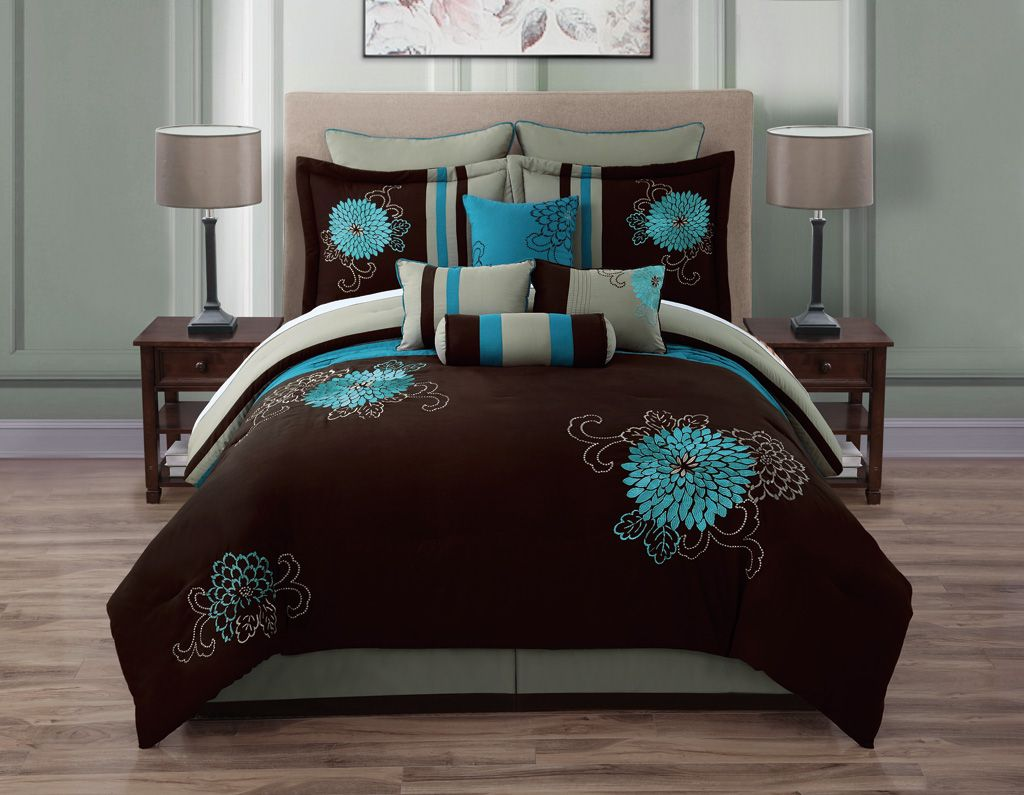 q rosslyn teal blacktaupe set ebay black piece itm comforter