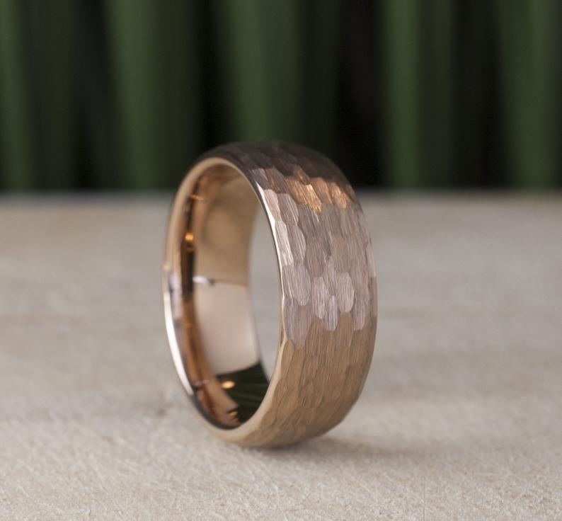 Hammered Tungsten Ring Rose Gold Men Wedding Band 8mm Brushed Etsy Mens Gold Wedding Band Hammered Tungsten Ring Mens Wedding Bands